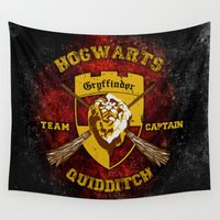 quidditch Wall Tapestries featuring Gryffindor lion quidditch team captain iPhone 4 4s 5 5c, ipod, ipad, pillow case, tshirt and mugs by Three Second
