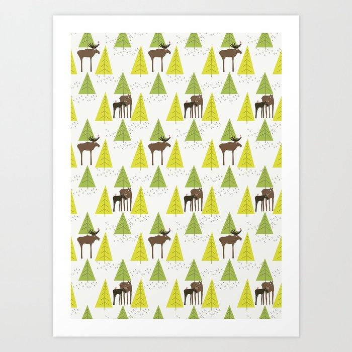 Moose Family 3 Art Print