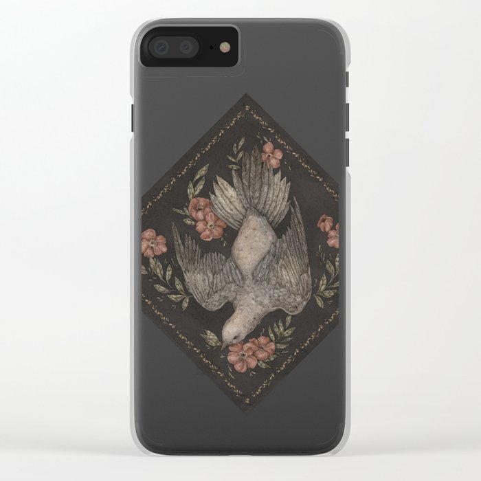 Dove and Flowers Clear iPhone Case
