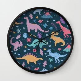 Dinosaur + Flowers Pattern Wall Clock