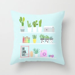 Illustrated shelf art blue Throw Pillow