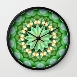 Daisy Green Yellow Kaleidoscope Wall Clock
