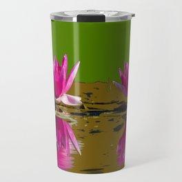 Fuchsia Water Lilies Green Art Travel Mug