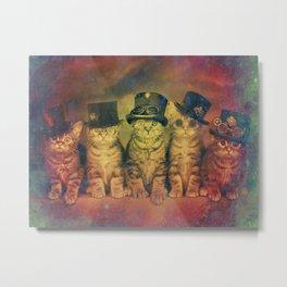 Steampunk Kittens Vintage Metal Print