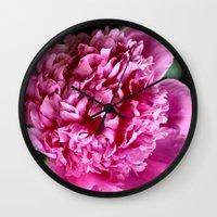 peony Wall Clocks featuring Peony by IowaShots