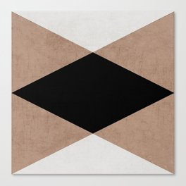 natural, cream and black triangles Canvas Print