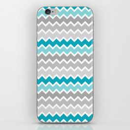 Turquoise Teal Blue Gray Chevron iPhone Skin