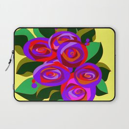 A Bouquet of Big Flowers with Yellow Background and Purple Tones Laptop Sleeve