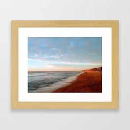 Winter Walk on the Beach Framed Art Print