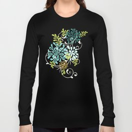 Bold Graphic Mod Mum Modern Chrysanthemum Floral Flower Aqua Blue Long Sleeve T-shirt
