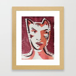 Cat Woman Cartoon Face Framed Art Print