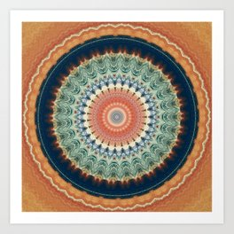 Dark Indigo Blue Orange Mandala Art Print