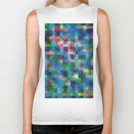 geometric square pixel pattern abstract in blue green pink yellow Biker Tank