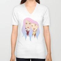 girls V-neck T-shirts featuring Girls by podborski