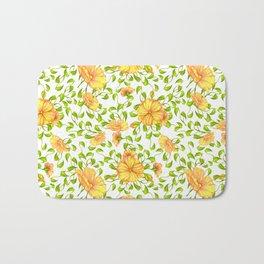 Elegant yellow green watercolor hand painted floral Bath Mat