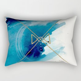 Galaxy Series 3 - a blue and gold abstract mixed media set Rectangular Pillow