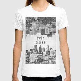 Twin Cities Minneapolis and Saint Paul Minnesota Skylines T-shirt