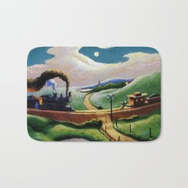 American West Classical Masterpiece 'Trains Colliding' by Thomas Hart Benton Bath Mat