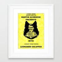 wolf of wall street Framed Art Prints featuring The Wolf of Wall Street Fan Poster  by Madison Daniels