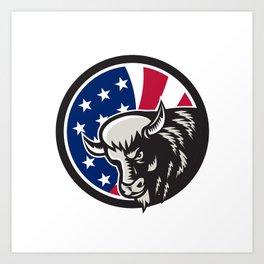 American Buffalo USA Flag Icon Art Print