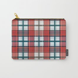 Colorful red grey plaid . Carry-All Pouch