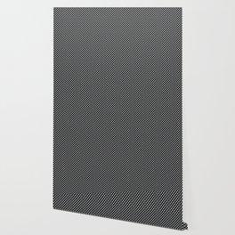 Black and Glacier Gray Polka Dots Wallpaper