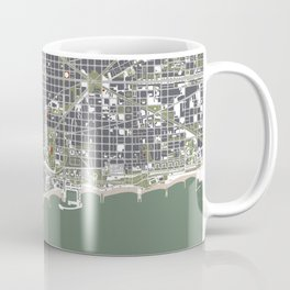 Barcelona city map engraving Coffee Mug
