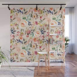 Hand painted ivory pink brown watercolor country floral Wall Mural