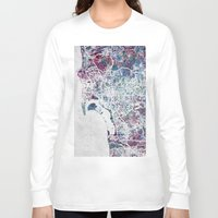 san diego Long Sleeve T-shirts featuring San Diego map by MapMapMaps.Watercolors