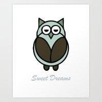 Baby Owl Sweet Dreams 3 Art Print
