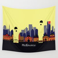 melbourne Wall Tapestries featuring Lovely Melbourne by Jollybird Designs