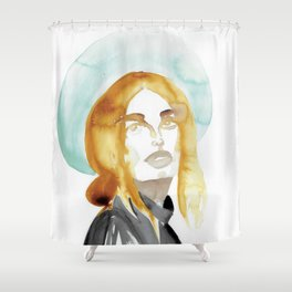 Judy with a Mint-Coloured Hat Shower Curtain