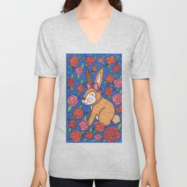 Spring Bunny & Roses Unisex V-Neck