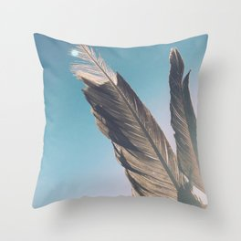 Brown Feathers Throw Pillow