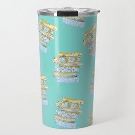 Golden Rings on Blue Travel Mug