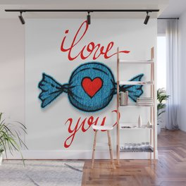 I love you (blue) written in red Wall Mural