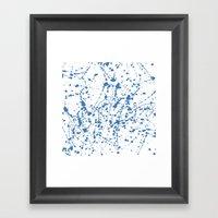 Splat Blue on White Framed Art Print