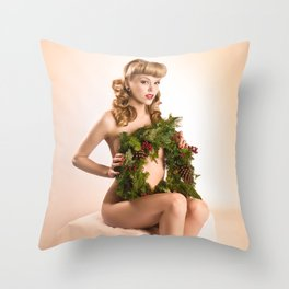 """""""Better Than an Ugly Sweater"""" - The Playful Pinup - Christmas Wreath Pin-up by Maxwell H. Johnson Throw Pillow"""