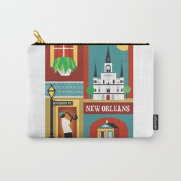 New Orleans, Louisiana - Collage Illustration by Loose Petals Carry-All Pouch