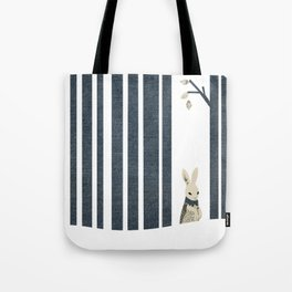 Winter Scene with Rabbit (Chasing the White Rabbit) Tote Bag