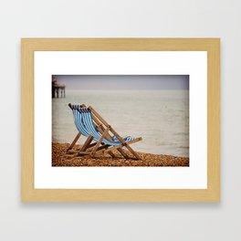 Seaside Deck Chairs Framed Art Print