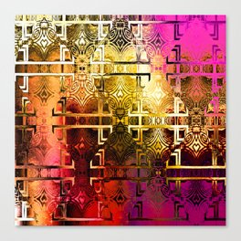 1001 Lights Pattern (gold-magenta-vermillion) Canvas Print