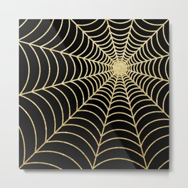Spiderweb   Gold Glitter Metal Print