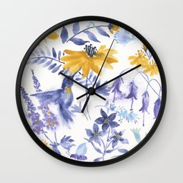Blue and Yellow Garden Snippets Wall Clock