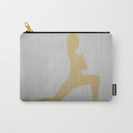Screen printed Yoga Art - Anjaneyasana  - Low Lunge - Wild Veda Carry-All Pouch