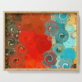 Turquoise and Red Swirls Serving Tray