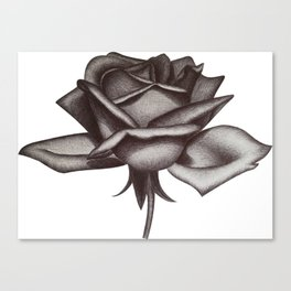 Black and White Rose in Ink Canvas Print
