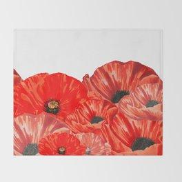 Poppies on White Throw Blanket