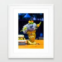 golden girls Framed Art Prints featuring 'Golden Girls' Floral Headvase by The Horticult