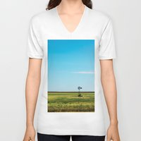 kansas V-neck T-shirts featuring Kansas Skyline by Marie Apel